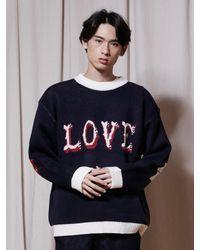 URBANDTYPE Love Crewneck Knit - Blue