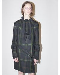 Bouton Tied Trench Coat-green Check