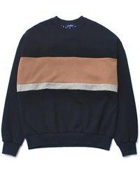 ESTERISK [unisex] Color Block Sweatshirt Beige Pink - Natural