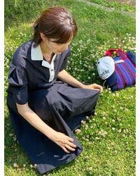 a.t.corner Knit Collar Long Dress (navy) - Blue