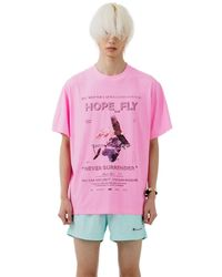 Heich Blade Hope Fly Crack Graphic T-shirt - Pink