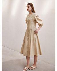 AVA MOLLI [summer Wool] Linen Puffed A-line Dress - Natural