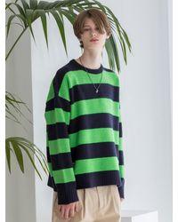 XTONZ Stripe Knit Top Green