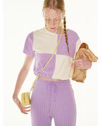 FUNFROMFUN Terry Checkerboard Banding T-shirts - Purple