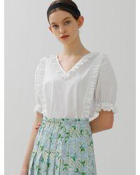 among A Frill Lace Blouse - White