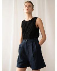 among A Herringbone Linen Shorts_navy - Blue