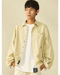 Heich Blade String Loose Fit Pigment Cotton Shirts Beige - Natural