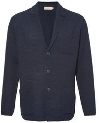 J'RIUM - Textured Premium Cotton Knit Jacket Navy - Lyst