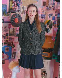 VEMVER Student Fit Tweed Jacket - Black