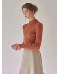 YAN13 - Tight Half Neck Knit Brick - Lyst