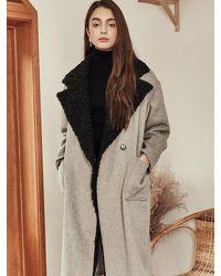 Blank Faux Fur Mix Coat - Natural