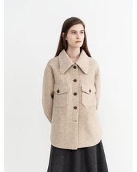 AVA MOLLI Melange Wool Bonding Coat - Natural