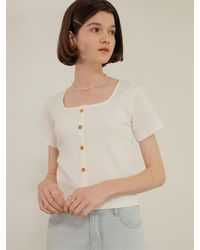 among Wood Button T-shirt [2 Colors] - White