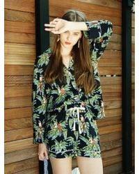 W Concept - Parrot Pajamas Shirt Navy - Lyst
