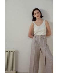 AEER Pants Wide Big Check Linen - Natural