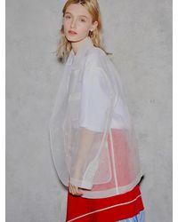 Clue de Clare See Through Pocket Jacket - White