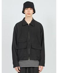LAYER UNION Pocket Detail Minimal Jacket Black