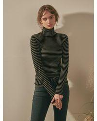 YAN13 Stripe Slim High Neck T-shirt - Black