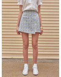 YAN13 Iris A-line Mini Skirt - Blue