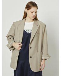 a.t.corner Premium Wool Oversized Jacket (dark Beige) - Natural