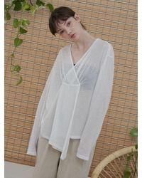 1159 STUDIOS - Mh6 Seethrough V-neck T-shirt_wh - Lyst