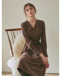 YAN13 V-neck Strap Dress - Brown
