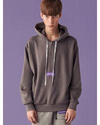 SLEAZY CORNER - [unisex] Pullover Half Zipup Hoodie Gray - Lyst