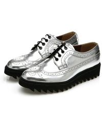 DEMIHAND Shark Long-wing Brogues Silver - Multicolour
