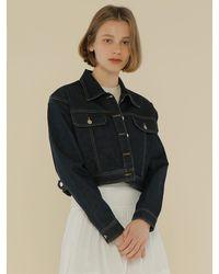 among Denim Crop Jacket - Blue