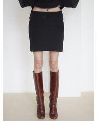Baby Centaur Wool Mohair Ribbed Knit Skirt - Black