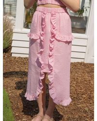 CLUT STUDIO 0 9 Gingham Check Ruffle Skirt - Pink