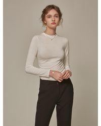 YAN13 Slim Round Long Tee Shirts - White