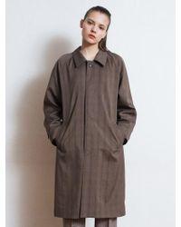 W Concept - [unisex] Shining Glen Check Mac Coat Brown - Lyst