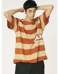 MADMARS [unisex] Oversize Stripe T-shirts - Brown