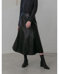 COLLABOTORY Semi-mermaid Fake Leather Skirt - Black