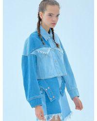 Kye Two-tone Denim Washing Jacket - Blue