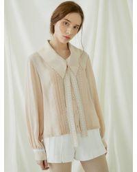 MILLOGREM - Pleats Lace Binding Blouse - Pink - Lyst