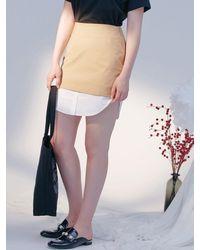 Blank Fake Shirt Skirt - Natural