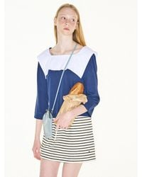 FUNFROMFUN Sailor Collar T-shirts (navy) - Blue