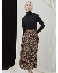 MILLOGREM Leopard Pleat Skirt - Brown