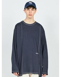 LAYER UNION Ctrs D St Oversized Fit Long Sleeve T-shirt Navy - Blue