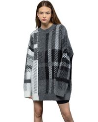 Heich Blade Brushed Over-fit Check Pullover - Gray