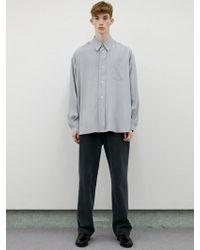 LIT. Oversized Cupro Shirts Light Gray
