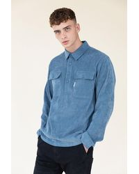 we are bound Steel Blue Corduroy Pullover Shirt