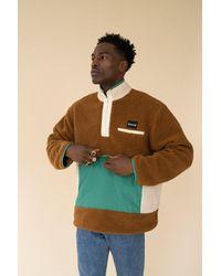 we are bound Tan Retro Panel Half Zip Fleece Pullover - Multicolor