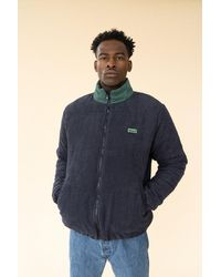 we are bound Navy Corduroy Puffer Coat - Blue