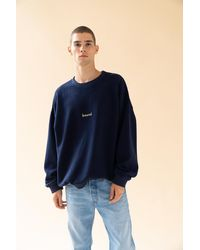 we are bound Navy Reverse Fleece Oversized Sweater - Blue