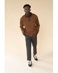 we are bound Copper Heavy Knit Pattern Ls Polo - Multicolour