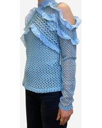 Self-Portrait Blue Crotchet Cold Shoulder Top