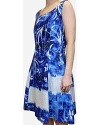 Oscar de la Renta Blue & White Fit & Flare Dress